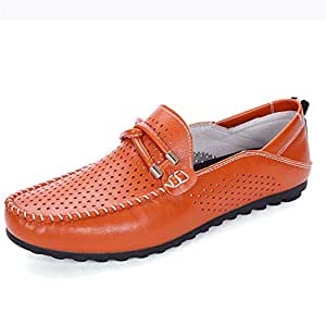 Breathable Mans Loafer Leather Summer Driving Loafer for Men White Bright Blue Orange Moccasins Boat Shoes Slip On Synthetic Leather Perforated Stitching (Color : Orange, Size : 7.5 UK)