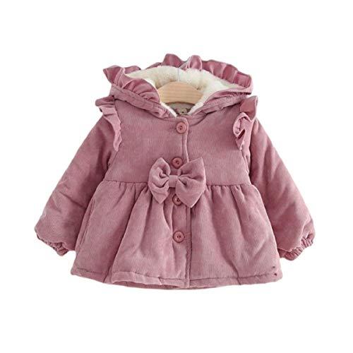 Dcohmch Toddler Baby Girls Fall Winter Coat Pink Corduroy Sherpa Coat Fleece Lined Ruffle Hoodie Jacket Fashion Outerwear