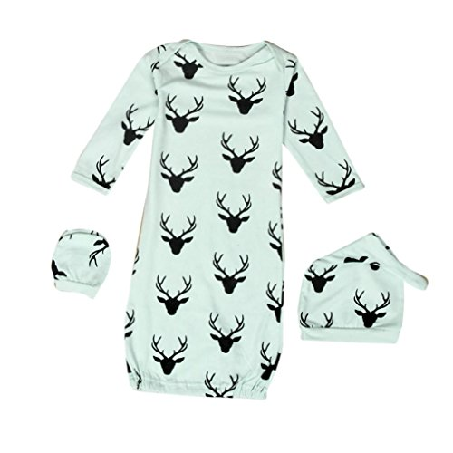 SunWard Christmas 1Set Newborn Baby XMAS Reindeer Gown Hat No Scratch Mittens 3Pcs Outfits Clothes (S, (80 S Outfit)