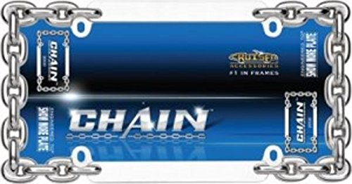 Two Double Panel Chain Link License Plate Frames Free Screw Caps