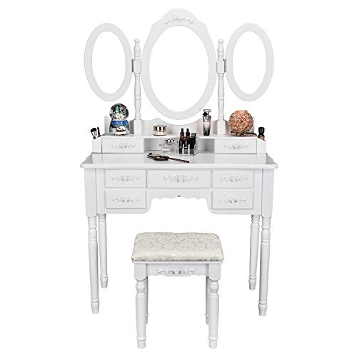(Bonnlo 7 Drawers Vanity Table Set for Girls Tri-Folding Mirrors Makeup Vanity Table with Cushioned Stool 2 Drawer Dividers 2 Makeup Brush Holders)