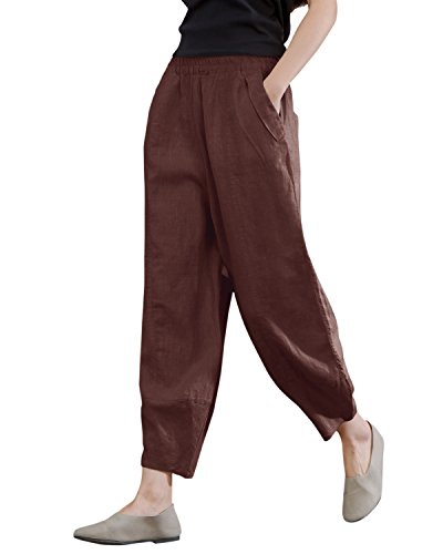 IXIMO Women's Linen Pants Lantern Tapered Elastic Waist Cropped Pants Trousers with Pockets Casual Capri Pants (Brown, XL)