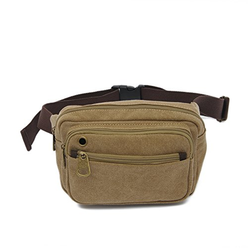 MiCoolker Retro Canvas Waist Bag Multi-function Outdoor Small Messenger Chestband Lightweight Hiking Bag ()
