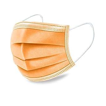 Naranja 50 piezas de productos de protecci/ón,Ronege tres capas de herramientas de protecci/ón desechables altamente transpirables adecuadas para cubrirse perfectamente la nariz la boca y la cara