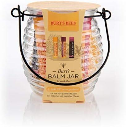 Burt's Bees, set di tre burrocacao per labbra, con vasetto, ideale come regalo