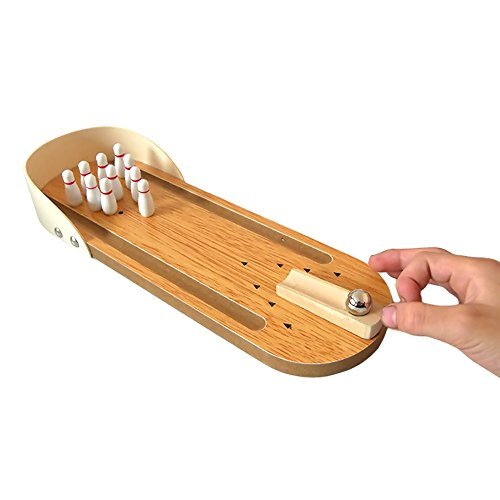 BTToyy Kids Mini Wooden Tabletop Bowling Game Educational Toy For Children For Fun