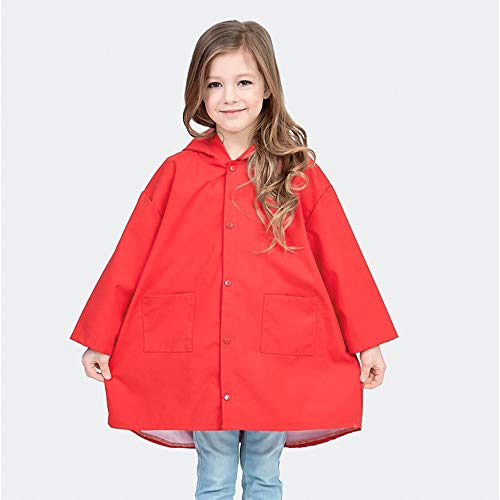 SSAWcasa Rain Poncho for Kids with Hood,Children Dinosaur Raincoat,Portable Reusable Toddler Rainwear with Storage Pouch,Lightweight Waterproof Rain Coat,Jacket for Baby Boys and Girls (L, Red) by SSAWcasa (Image #3)