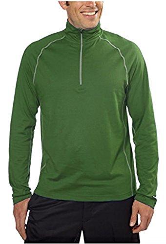Cloudveil® Men's 1/4 Zip Mock Neck Pullover, UPF 15+ (Medium, Evergreen)