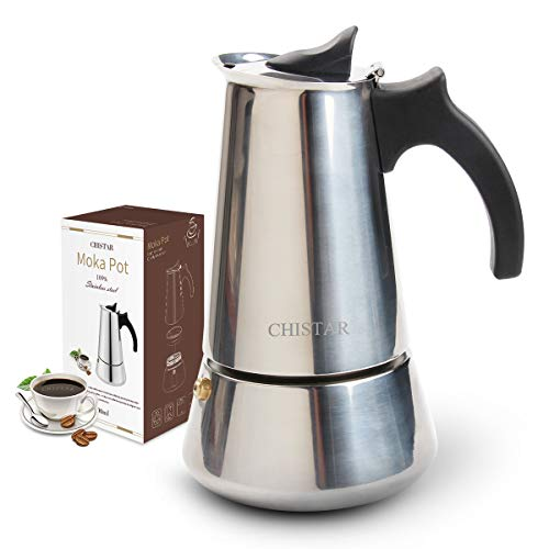 CHISTAR Espresso Maker, Stovetop Espresso Maker, Coffee Maker, Moka Pot: Classic Cafe Maker Made of 430 Stainless Steel for 6 Cups (300 ml), Suitable for Induction cookers (Espresso Cooker)