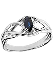 Exquisite Sterling Silver Sapphire Celtic Knot Engagement/Promise Ring