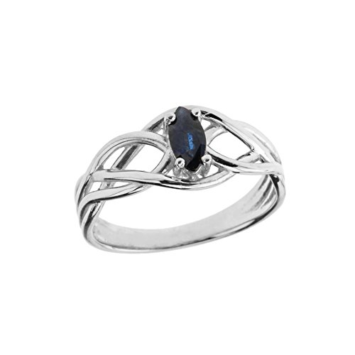 Exquisite 14k White Gold Sapphire Celtic Knot Engagement/Promise Ring (Size (White Gold Sapphire Claddagh Ring)