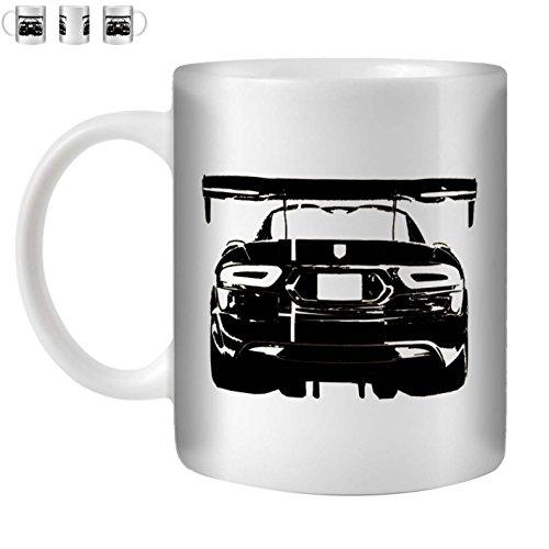 STUFF4 Tea/Coffee Mug/Cup 350ml/Black/Viper ACR/White Ceramic/ST10 ()