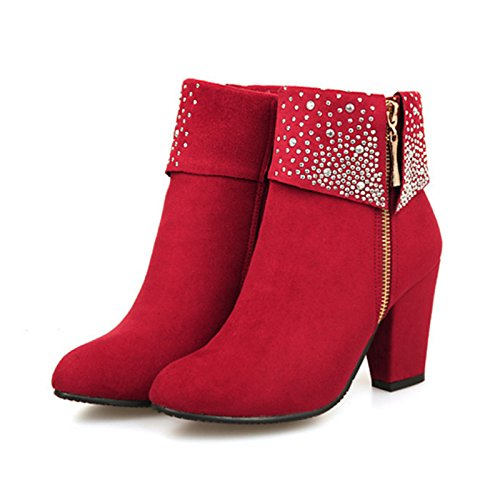 Party Women's Chunky Shoes Pointed Comfort Novelty Fall Rhinestone Suede Boots Heel Winter Booties Boots Ankle ZHZNVX Bootie Red Toe HSXZ Wedding for RvE5wqvS