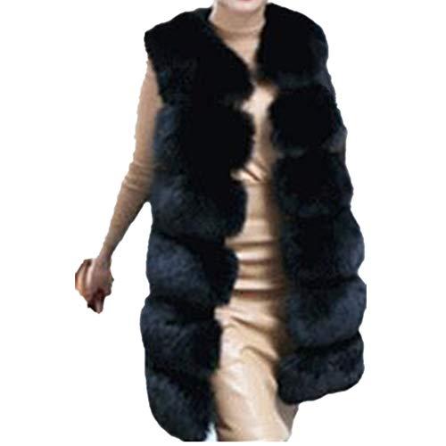 Lisa Colly Women's Faux Fox Fur Vest Long Fur Jacket Warm Faux Fur Coat Outwear (Black, ()