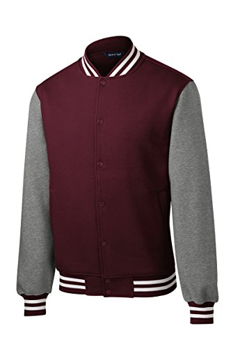 Men's Classic Fleece Letterman Varsity Jacket - MAROON - (Classic Letterman Jacket)