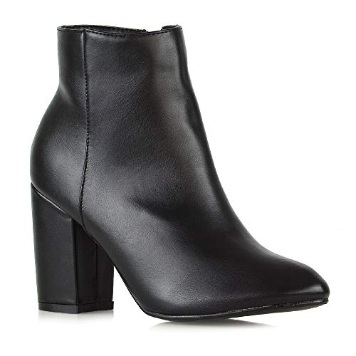 - ESSEX GLAM Womens Casual Block Mid High Heel Smart Ankle Boots (10 B(M) US, Black Synthetic Leather)