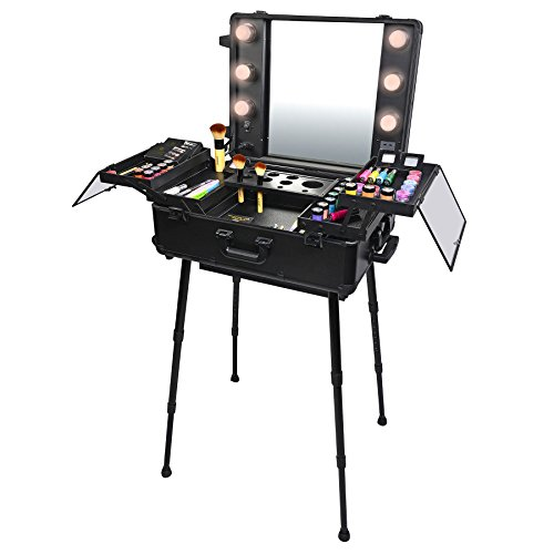 Good SHANY Studio To Go Makeup Case With Light   Pro Makeup Station   BLACK