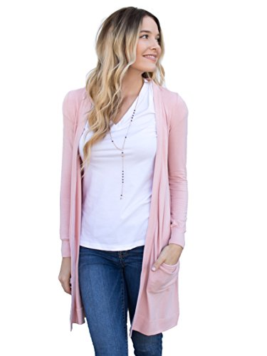 (Tickled Teal Women's Soft Long Sleeve Pocket Cardigan (Blush Pink, 3X))