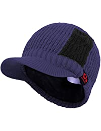 Sports Winter Two Tone Visor Beanie with Bill Knit Hat with Brim Fleece  Lined Ski Cap 1307a4cb9fdf