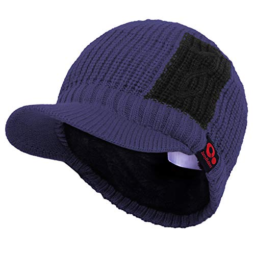 Janey&Rubbins Sports Winter Two Tone Visor Beanie with Bill Knit Hat with Brim Fleece Lined Ski Cap (Blue)