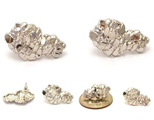 Mens Hip Hop White Gold Finish 925 Sterling Silver Nugget Stud Earrings
