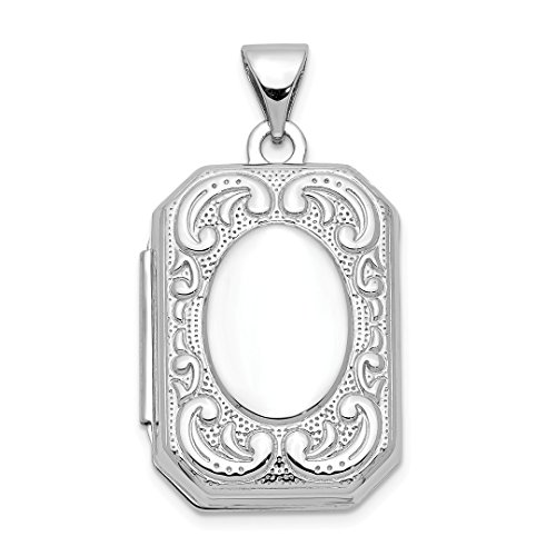 ICE CARATS 14kt White Gold 20mm Book Scroll Border Photo Pendant Charm Locket Chain Necklace That Holds Pictures Shaped Fine Jewelry Ideal Gifts For Women Gift Set From Heart -
