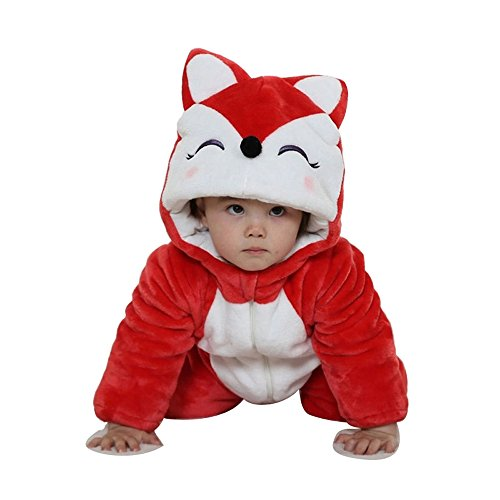 Tom_s Toddler Baby Rompers Animal Jumpsuit Autumn Winter Outfits Infant Hooded Flannel Costume (Red Fox, 73CM(2-5months))
