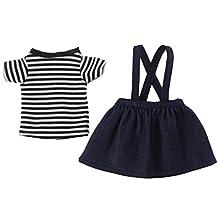 MonkeyJack Striped T-shirt Shoulder Strap Skirt for 14inch American Girl Dolls Clothes Clothing