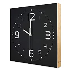 KAUZA Matt Black Handcrafted Wooden Analog Wall Clock - 3D Laser Cutout Numerals Modern Design - Silent Non Ticking Quartz Movement