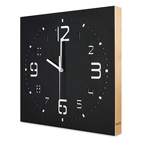 (KAUZA Matt Black Handcrafted Wooden Analog Wall Clock - 3D Laser Cutout Numerals Modern Design - Silent Non Ticking Quartz Movement)