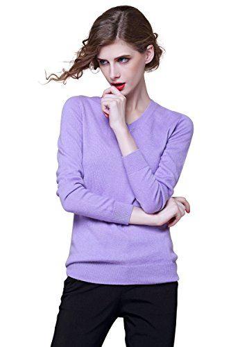 织礼 Zhili Women's V-Neck Cashmere Pullover Sweater(Light Purple_Small)