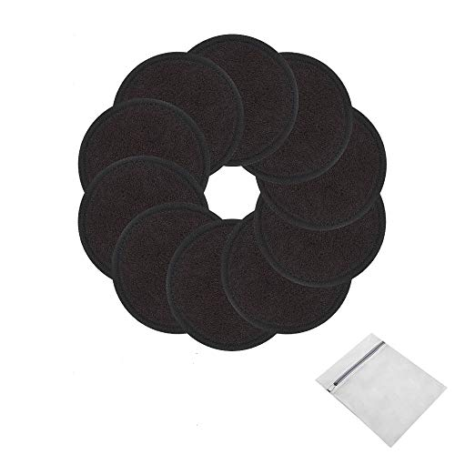 Reusable Makeup Remover Pads 10 Pcs 2-Layer 3.15 inch black Washable Eco-friendly Natural Organic Bamboo Cotton Round Pads with Laundry Bag Soft Facial Cleansing Cloths Toner Pads Towel Wipe for Face