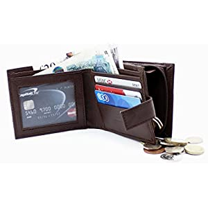 RAS Mens Genuine Leather RFID Blocking Wallet With Zipper Coin Pouch 44