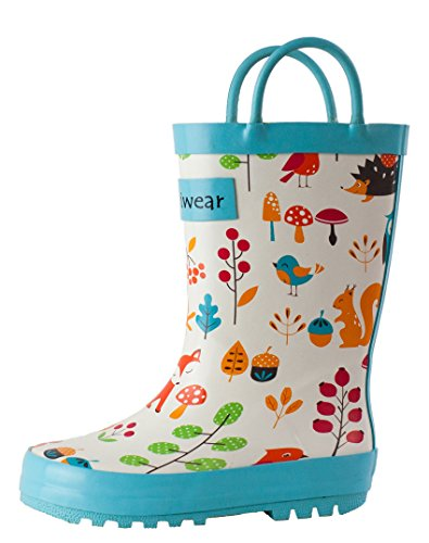 (OAKI Kids Rubber Rain Boots with Easy-On Handles, Forest Animals, 7T US)
