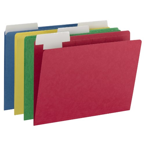 Smead FlexiFolder Heavyweight File Folder with Movable Tab, Erasable 1/3-Cut Extra Wide Tab, Letter Size, Assorted Colors, 12 per Pack (10404) ()