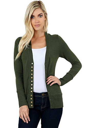 - Sportoli Womens Long Sleeve Knit Snap Button Sweater Cardigan Regular & Plus - Army Green (Size L)