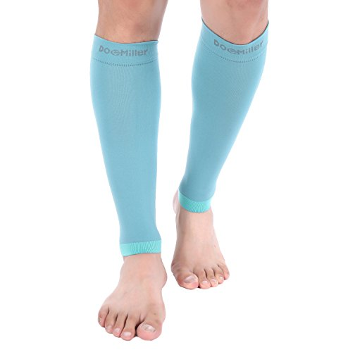 (Doc Miller Premium Calf Compression Sleeve 1 Pair 20-30mmHg Strong Calf Support Fashionable Colors Graduated Pressure for Sports Running Muscle Recovery Shin Splints Varicose Veins (Teal,)