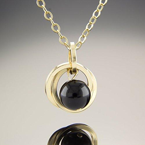20 Inch 14K Yellow Gold Fill Black Onyx Gemstone Pendant Necklace