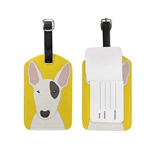 My Daily Bull Terrier Dog Luggage Tag PU Leather Bag Tag Travel Suitcases ID Identifier Baggage Label