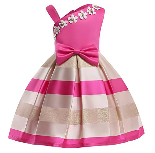 NSSMWTTC Flower Girls Ruffles Dresses Toddler Baby Birthday Halloween Day Pageant Dress (Rose,100) for $<!--$16.95-->