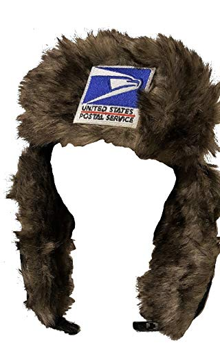 USPS Postal Post Office Trapper Bomber Aviator Trooper Fur Winter Hat w/Earflaps Navy by PCA Etc ()