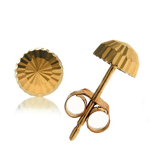ellow Gold Half Ball Diamond-cut Post Stud Earrings - 4mm ()