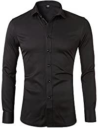 Men's Bamboo Fiber Dress Shirts Slim Fit Solid Long Sleeve Casual Button Down Shirts, Elastic Formal Shirts For...