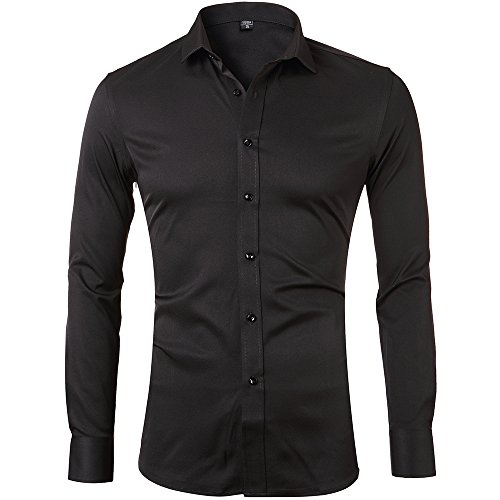 Men's Slim Fit Solid Point Collar Fashion Shirt Long Sleeves Bamboo Fiber Dress Casual Shirts ElasticBlack15″ Neck 32″ SleeveTag 38