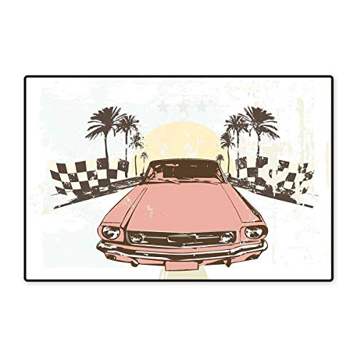 "Grunge Door Mat Indoors Old Fashioned Car Auto Sport Checkers Palms Sun Retro Road Racing Speed Floor Mat Pattern 32""x48"" Coral Mint Green Yellow"