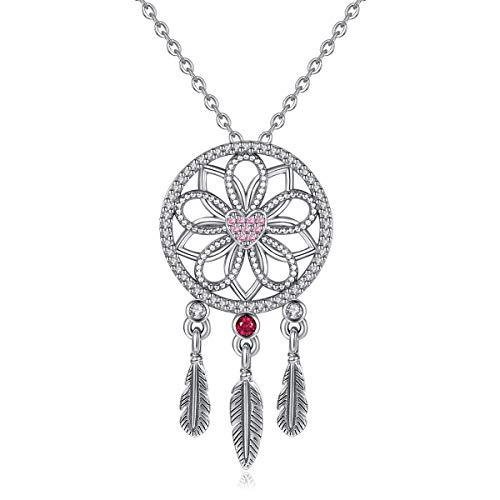 Eudora 925 Sterling Silver Dreamcatcher with Feather Necklace Good Luck Pendant Long Necklace for Women Girls Ladies Charming Best Festival Gift Jewellery,18'']()