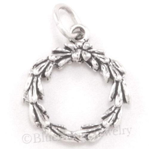 Charm - Sterling Silver - Jewelry - Pendant - Christmas Wreath