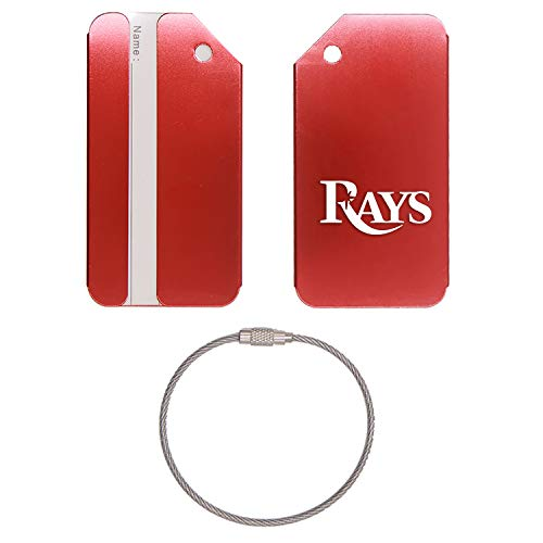 (MLB Tampa Bay Rays Words STAINLESS STEEL - ENGRAVED LUGGAGE TAG - SET OF 2 (SCARLET RED) - FOR ANY TYPE OF LUGGAGE, SUITCASES, GYM BAGS, BRIEFCASES, GOLF BAGS)
