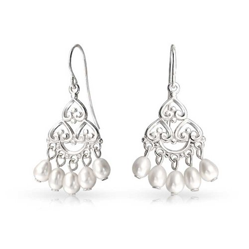(Bali Style White Freshwater Cultured Pearl Boho Filigree Dangle Chandelier Earrings For Women Teen 925 Sterling Silver)