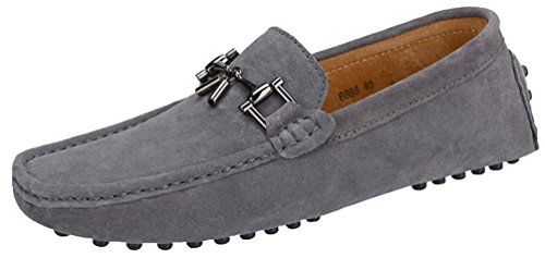 Abby 6888 Mens Slip-on Casual Extraordinary Loafers Moccasins Driver Leather Shoes Grey